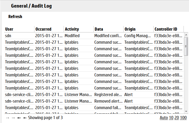 audit log screen example with licensing and teaming activity