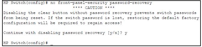 reset password hp switch