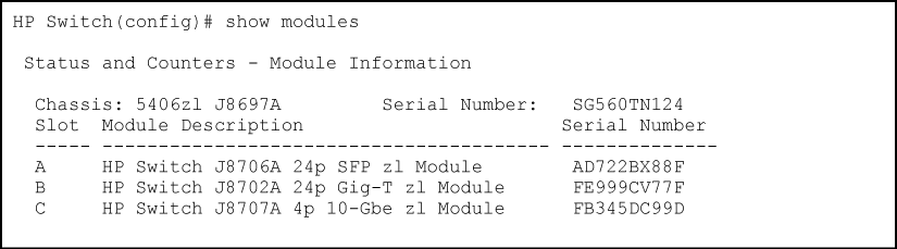 hp 5130 show serial number
