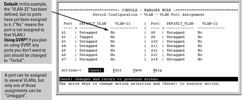 Adding or changing a VLAN port assignment (Menu)