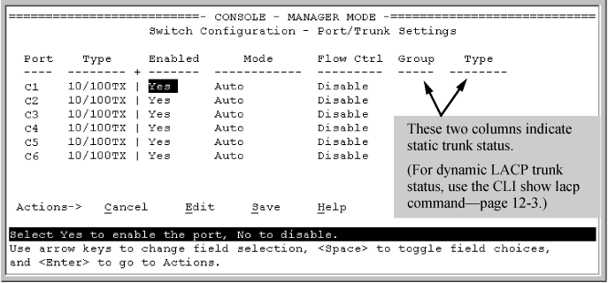 Viewing and configuring a static trunk group (Menu)